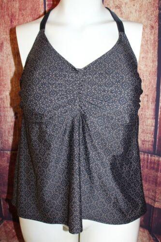 Ava /& Viv Brown Black Geometric Diamonds Swimsuit Tankini Swim Top Shelf Bra