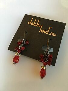 Image Is Loading Dabby Reid Red Crystal Dangling Earrings New Free