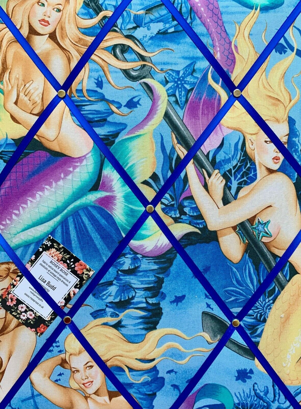 Alexander Henry Sea Sirens Blau Mermaid Handcrafted Fabric Notice Pin Memo Board
