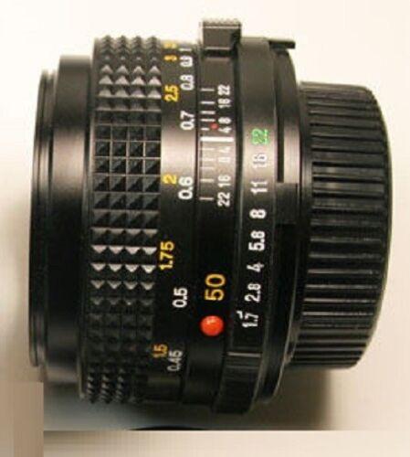 Minolta MD Mount f//1.7 50mm Prime Lens X-370 X570 X700 XG1 XG7 XD SRT