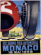 VINTAGE 1937 MONACO GRAND PRIX AUTO RACING POSTER PRINT 36x27 9MIL PAPER