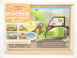 Melissa & Doug 4-in-1 Wooden Jigsaw Puzzles in Box Construction Vehicles 48 pcs