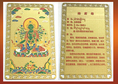 Feng Shui Green Tara Card Amulet Protect & Against Evils Fear, A Nine Gift