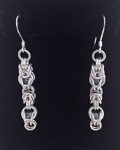 Details about Chainmaille Sterling Silver Byzantine Earrings w/ Captured  Blue beads  2 1/4 in