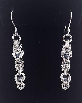 Pair of Sterling Silver Hoop Hook Earrings with Coral Nuggets