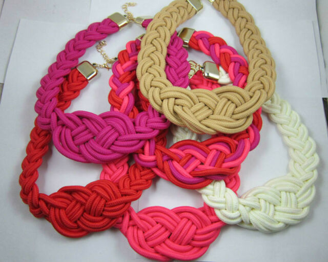 new!Occident style handmade woven Chinese knot cotton rope necklace