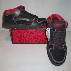 33e8120178 Vans Men s Edgemont Black Red Plaid Mid Skate Shoes SIZES! NIB NEW ...