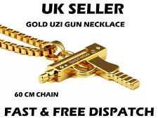 Supreme Gold Uzi Gun Necklace Gangsta Gangster Bling Chain 60cm Chain
