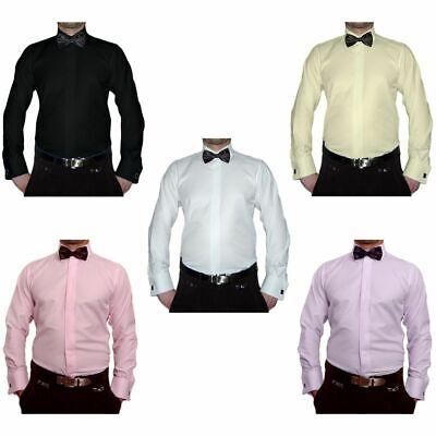 Smoking Designer Herren Hemd S11 + Schwarze Fliege Slim Fit Manschettenknöpfe | eBay