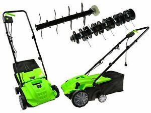 Elektro-Luefter-amp-Vertikutierer-Rasenluefter-2300Watt-Kombi-Geraet-Moosentferner-NEU