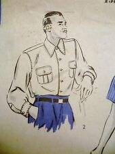 """1930s Vintage HOLLYWOOD #1849 PATTERNS Men's SHIRT 15.5"""" Neck"""