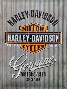 PLAQUE-METAL-vintage-HARLEY-DAVIDSON-genuine-40-x-30-cm