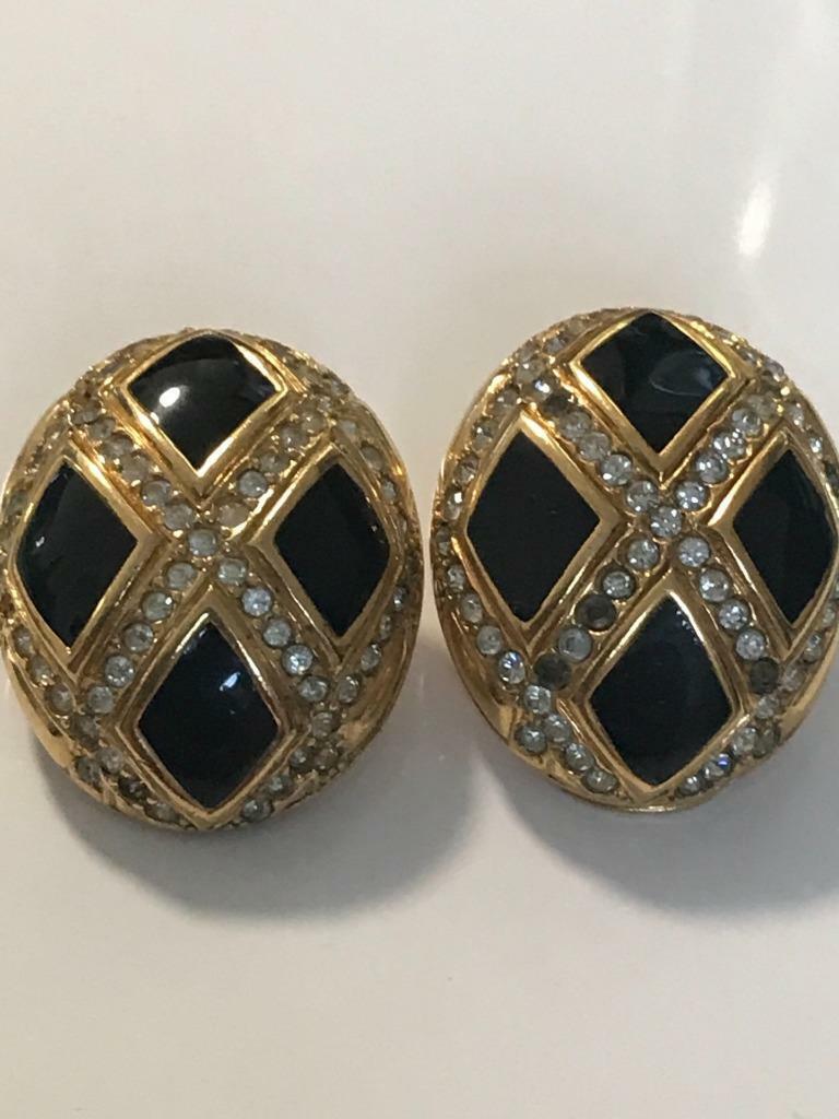 Unique Vintage Lanvin Germany Gold Tone Black Ony… - image 1