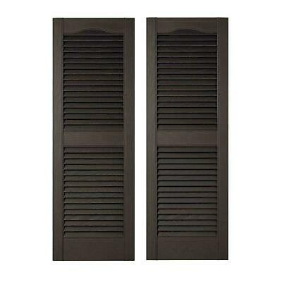 Exterior Shutters Louvered Vinyl Pair Bright White Window Decor New 15 x 60 in