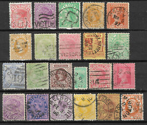 VICTORIA-Collection-22-Different-COLONIES-STATES-Stamps-Used-condition-Lot-1
