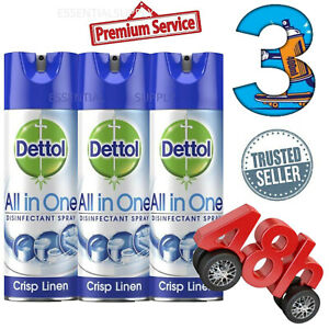 3-x-400ml-Dettol-All-in-One-Spray-Crisp-Linen-FREE-48hr-Delivery