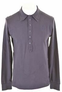 DIESEL-Womens-Polo-Shirt-Long-Sleeve-Size-16-Large-Navy-Blue-Cotton-DF23