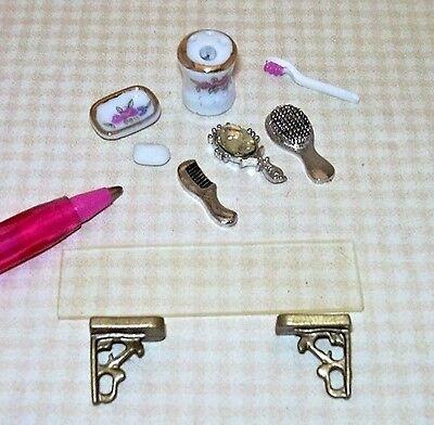 Miniature Economical Plexiglass Shelf w//Bath Accessories: DOLLHOUSE 1/12