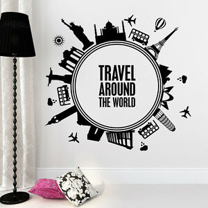 Travel Around The World Wall Decal Quote Decal Bedroom Decor Home Sticker 688 Ebay