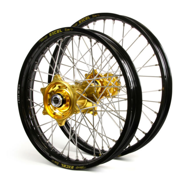 KAWASAKI KLX450 2008 WHEEL SET BLACK EXCEL SNR MX RIMS GOLD TALON HUBS 21/18x2.1