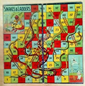 Rare-Vintage-Burnett-Tinplate-Snakes-and-Ladders-issued-1910-14-Near-Mint