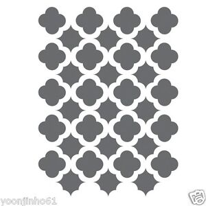 Moroccan trellis tile stencils template small scale for for Printable stencils for canvas painting