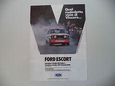 advertising Pubblicità 1980 FORD ESCORT GR1 RALLY PRESOTTO/SGHEDONI