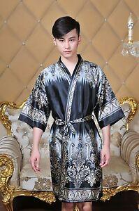 gray Chinese style mens silk satin bathrobe robe gown size s -xxl  a9353104e