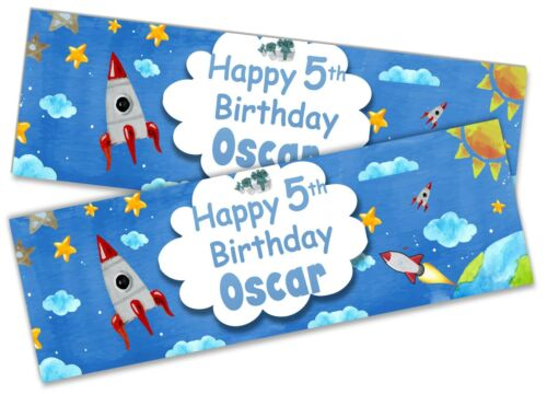 x2 Personalised Birthday Banner Space Children Kids Party Decoration Poster 3