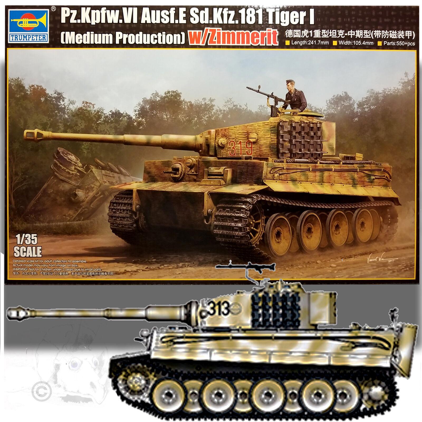 TRUMPETER 1 35 TIGER I (MEDIUM PRODUCTION) W ZIMMERIT MODEL KIT 05939