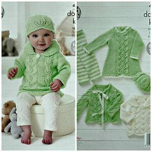 c3140175f KNITTING PATTERN Baby Leaf Pattern Dress Leggings Cardigan Jumper ...