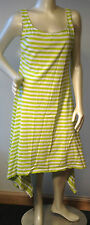 Marimekko L lime green white stripe cotton jersey flared uneven asymmetric Dress