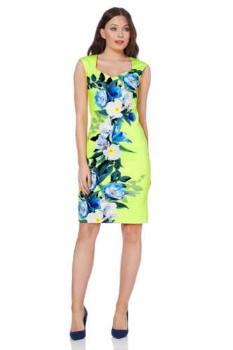 10 Dress Floral Scuba Roman Sizes Women's Originals Vibrant Lime 20 Cqpxwn0U6
