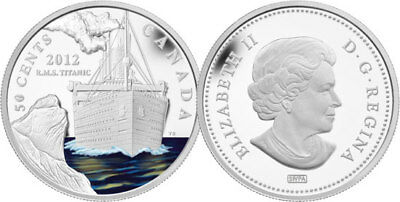 """2012 RCM /""""RMS TITANIC/"""" SILVER PLATED 50 CENT COIN"""