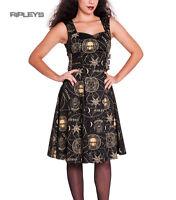 HELL BUNNY Black Goth TABITHA Pentagram Dress Steampunk Goth All Sizes