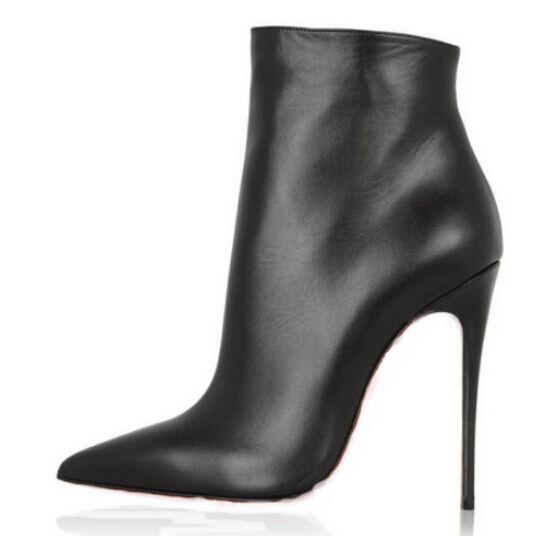 Mujeres Cuero Cremallera Lateral Zapatos Taco aguja Zapatos de Taco Alto Puntera Puntiaguda Botín Zapatos zsell