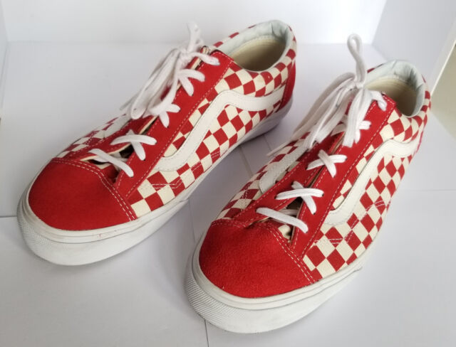 d9d6dcc8c7 VANS Old Skool Style 36 Red White Checkerboard Skate Suede Trainers Shoes  UK 10 for sale online