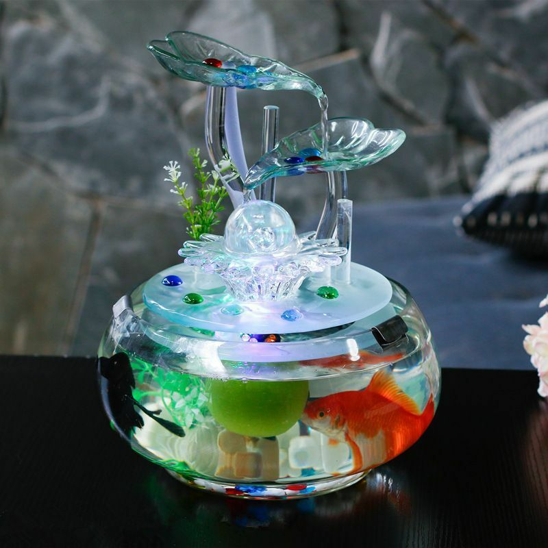 Feng Shui Ornament Glass Water Fountain Creative Indoor Air Humidifier Fish Tank