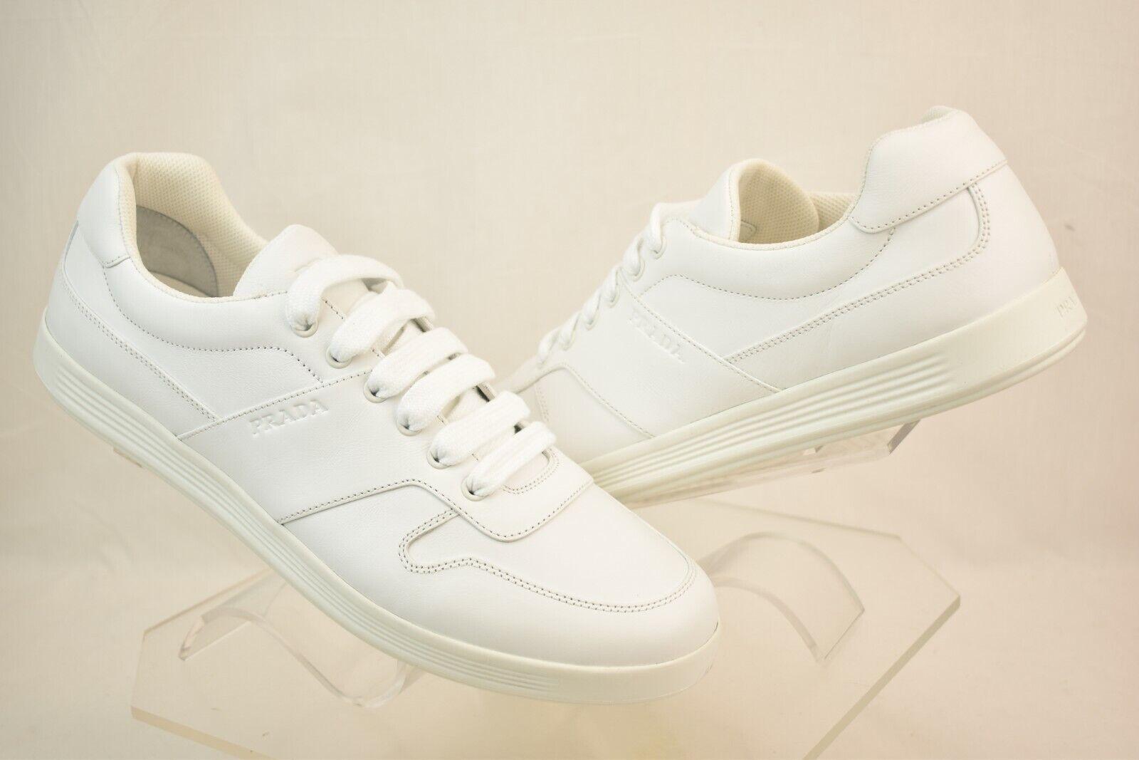 Nuevo En Caja PRADA hombre Cuero blancoo Con Cordones Logotipo LOW TOP zapatillas 11.5 US 12.5