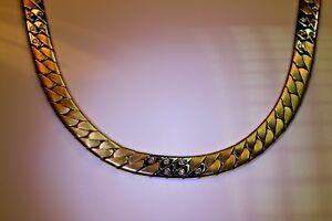 Halskette-585-Gelb-Weissgold-Handarbeit-Flachpanzer-18-Brill-0-24ct-45cm