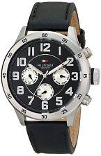 New Tommy Hilfiger Men MultiFunction Black Leather Dress Watch 46mm 1791050 $145
