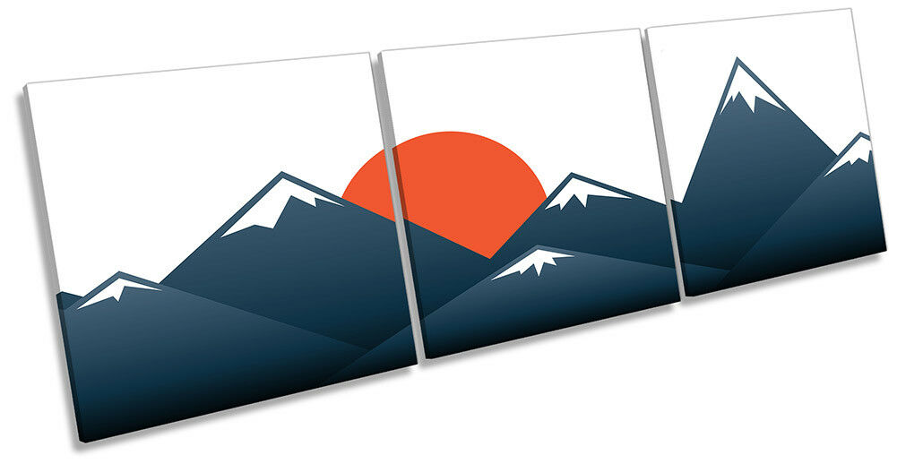 Japanese Sunset Mountains Picture CANVAS WALL ART Triple Print