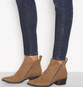 Tan Suedette 'Mindy' block heel ankle