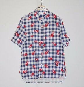 Vintage-BAPE-A-Bathing-Ape-Crown-Logo-Half-Sleeve-Shirt-Made-In-Japan-sz-L-USED