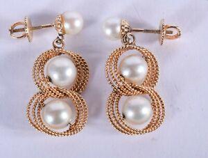 Un-impresionante-y-unico-par-de-VINTAGE-9-CT-Oro-y-pendientes-de-perlas