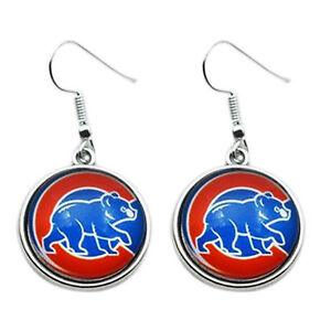 Image Is Loading Chicago Cubs Earrings Bear Charm Round Gl Dangle