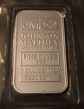 1 Oz Johnson Matthey .999 Fine Silver Bar - in MINT