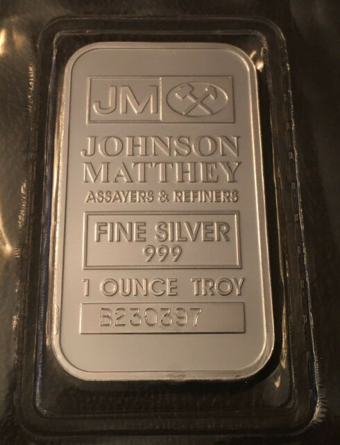 1 Oz Johnson Matthey Silver Bar 999 Fine In Sealed Plastic