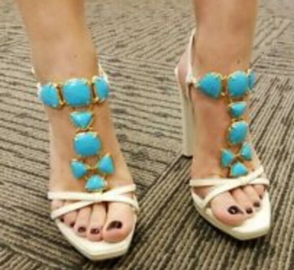 Christian Dior Piedra T-strap Sandals w  Turquoise Gemstone  Heels Size 38 US 7