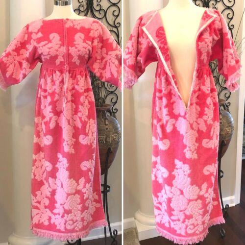 Vintage 60s 70s Pink Towel Dress Terry Cloth Towel